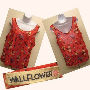 WALLFLOWER Red Floral Sleeveless Tank Tunic Top